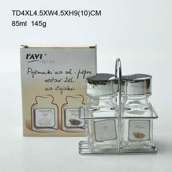 Hot selling high quality clear glass spice jar set with metal clips and rack