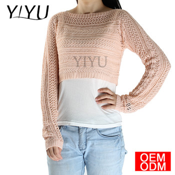 Custom 2017 autumn fashion women sexy Cropped Knit Sweater crop Top