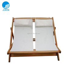 Garden double seat folding wooden deck beach chair