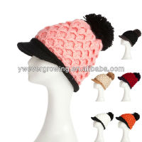 2013 fashion winter peak cap wholesale knitted hats with pompoms high quality hot sale crochet beanie hat