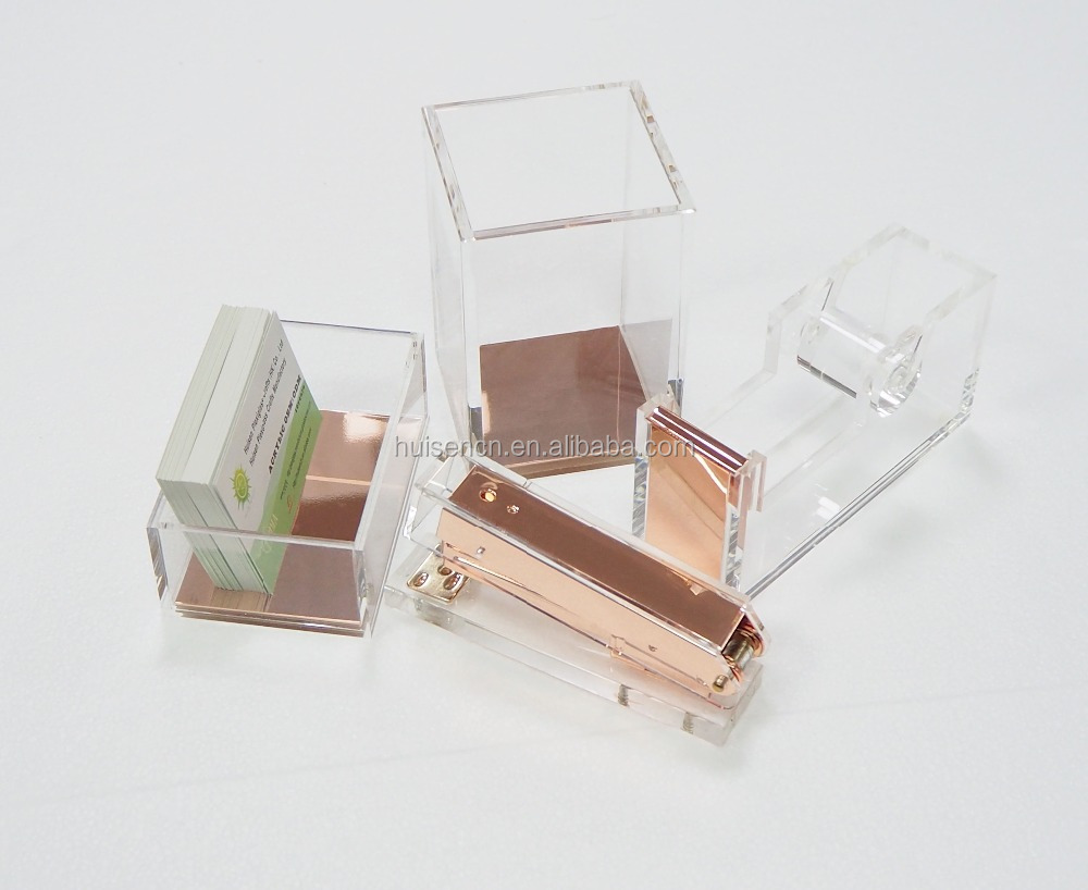 Clear Acrylic Office Set Elegent Rose Gold Accessories New Design Promotion  Goods Supplies
