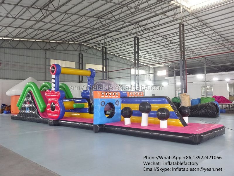 PK160721077 Kids Giant Inflatable water Obstacle Course Laminated for Amusement Park