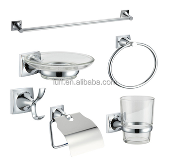 Zinc Alloy 6 Pieces bath hardware set Bathroom Accessories Sets with Chrome Towel bar Paper Holder Towel Ring Robe Hook Holders