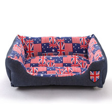 Classic Flag Design Jean Fabric Luxury Dog Beds
