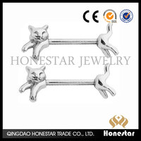 3D cat design Sexy Nipple Stretching Jewelry Female Nipple Piercing