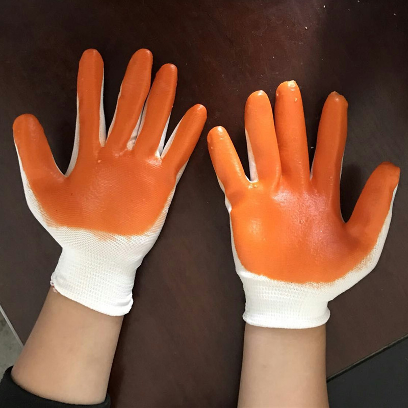 Coated Nylon oil resistance safety working gloves