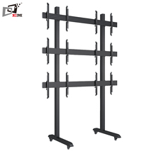 Support Micro Adjustment Bracket Arm Free Standing Rolling 55 TV Stand With Aluminum Column