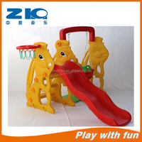 cheap rabbit plastic slide and swing set