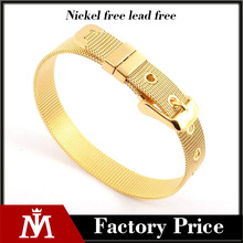 Wholesale cheap 18k gold plated mesh wide stainless steel watch bracelet unisex jewelry