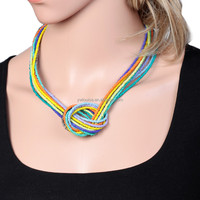 Mixed Color Multi Strands Seed Beads Knotted Chain link Necklace Handmade Bohemian Ethnic Jewelry