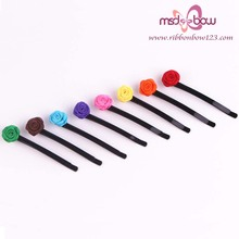 Wholesale lovely satin flower bobby pin hair clips accessories for girls