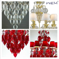 Weiyi Modern Indoor Chandeliers White Purple Red Glass Chandelier Crystals Pendant Light Lighting Lamps Chandelier