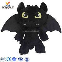 Promotional stuffed black animal how to train dragon plush toys