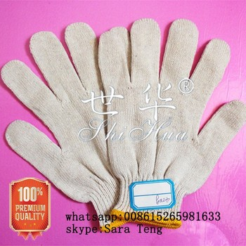 cheap knitted white cotton gloves