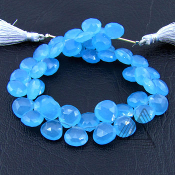 Blue Chalcedony Heart Briolette Strands, Natural Wholesale Semi Precious & Precious Color Gemstone, Loose Beads