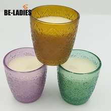 2018 Paraffin Wax Material Colorful Glass Cup Art Scented Candle