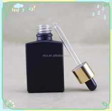 bulb dripper 30ml e liquid bottles frosted black glass dropper bottles gold/silver cap