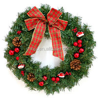 Plastic Red Bowknot Artificial Christmas Wreath With Santa Claus/ Pine Cone