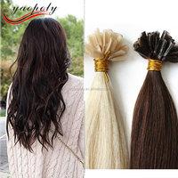 24 Inch Straight Remy Brazilian Nail natural hair on keratin capsules prebonded keratin glue nail U tip hair extensions