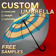 wholesale cheap white umbrellas with wooden handle