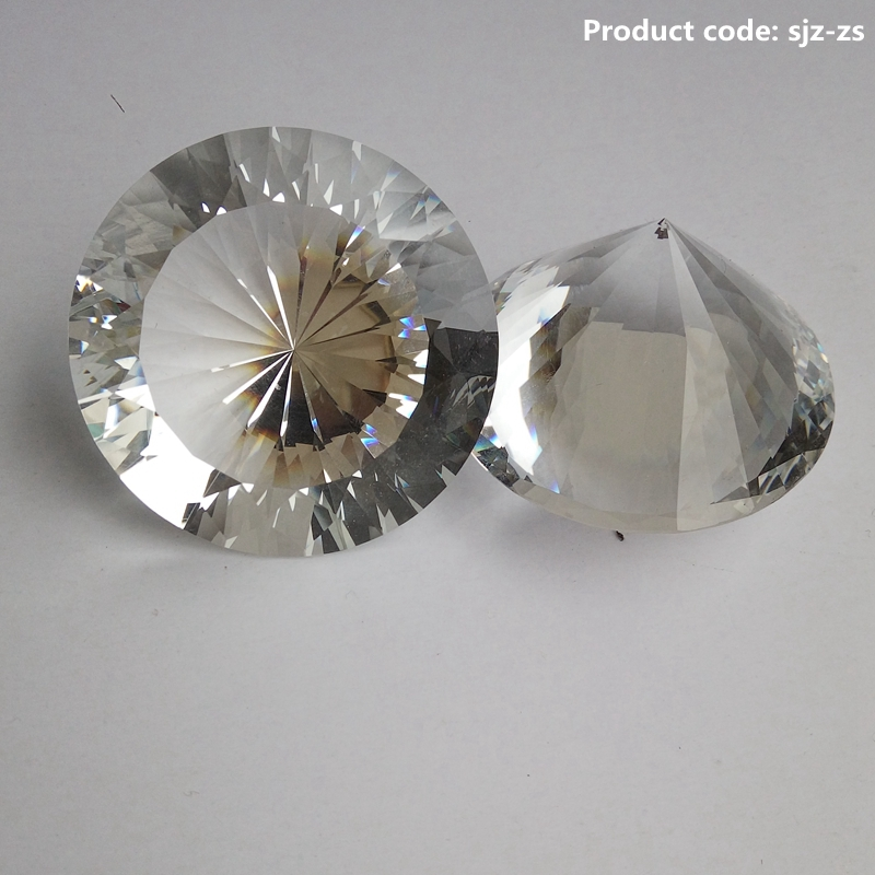 machine cut large 30mm clear white crystal glass round diamond