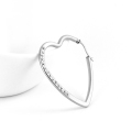 Stainless steel big hoop heart shaped earrings piercing tragus with gems