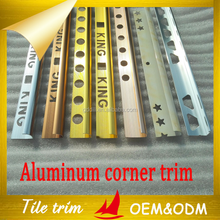 Aluminum trim profile for ceramic tile external corners protection and decoration from China factory
