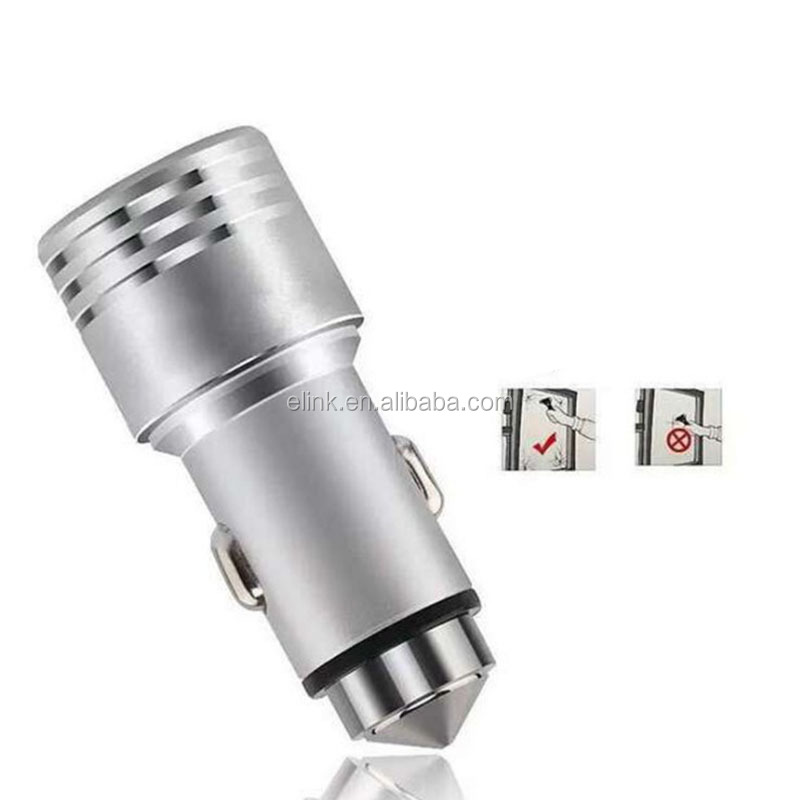 New car charger dual USB port safety hammer car charger 2.4a multi function aluminum alloy car charger