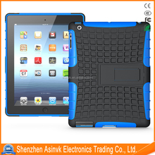 Heavy Duty Pc+Tpu Dual Layer Defender Hybrid Armor Shock Absorbent Tyre cover case with Kickstand For Apple iPad 2/iPad 3/iPad 4