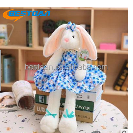Bestdan cute hot bugs bunny loppy ear plush stuffed toy <strong>rabbit</strong> with lace skirt