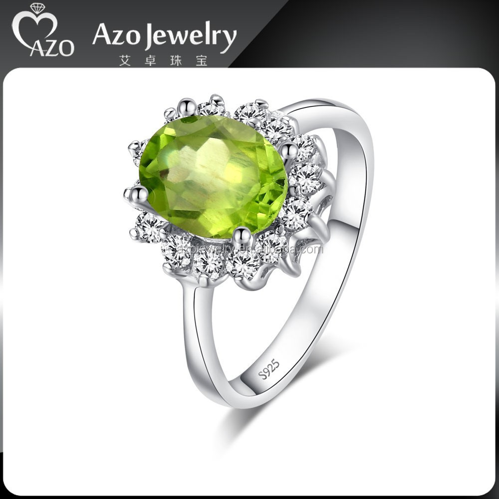 Elegant 925 Sterling Silver Big Stone Peridot Ring