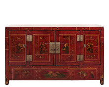 "59"" L living room Dongbei cabinet with four seasons flowers, lacquer solid pine wood, Chinese antique furniture"