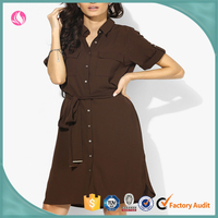 Latest Dress Designs for Ladies Casual Short Sleeves Shirt Cutting Chiffon Dress