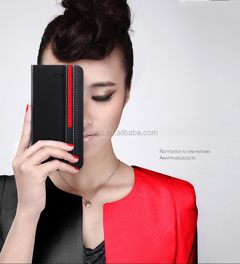 Contrast color Fashion PU Leather Wallet Flip Mobile Phone Case Cover For Blackberry 9620