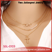 New Products Fashion Multi Layers' Gold Chain Jewellery, Artificial Flower Necklace