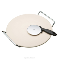 2015 New Products Pizza Stone Set/chrome serving stand and stainless steel pizza cutter/Non stick Pizza Pan