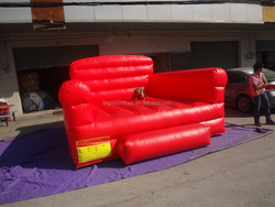 Inflatable giant advertising red long sofa model for promotion