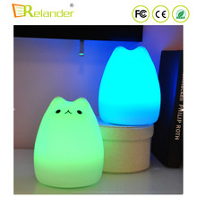 Home Decoration Cartoon Silicone ABS USB Cat Led Lamp Night Light for Kids Baby