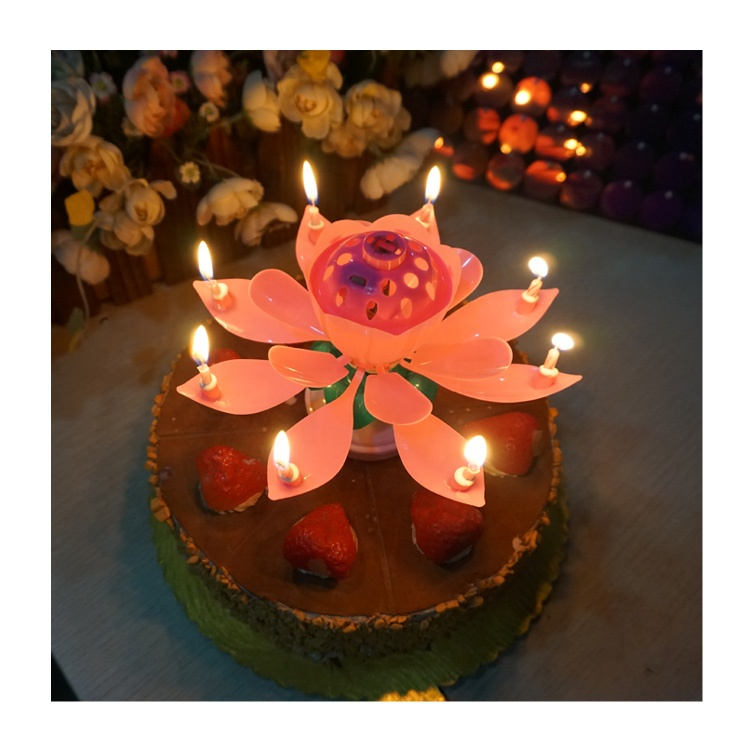 Kids Adults Unique Opening Musical Birthday Flower Party Rotating Candle