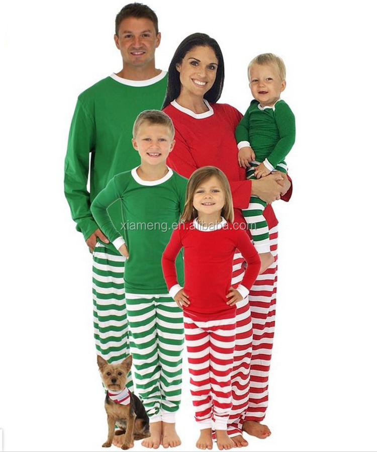 2017 new arrival wholesale green and white blank stripe christmas family matching pajamas