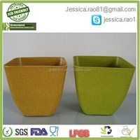 hotsale cheap square biodegrable plant power material bamboo fibre plant holder, flower pot