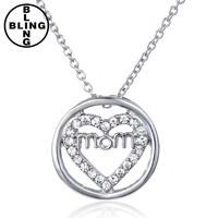 >>>Fashion Circle Pendant Necklaces Clear Crystal Heart Style Pendent Silver Chian Mom Stamp Necklace For Mother Gift