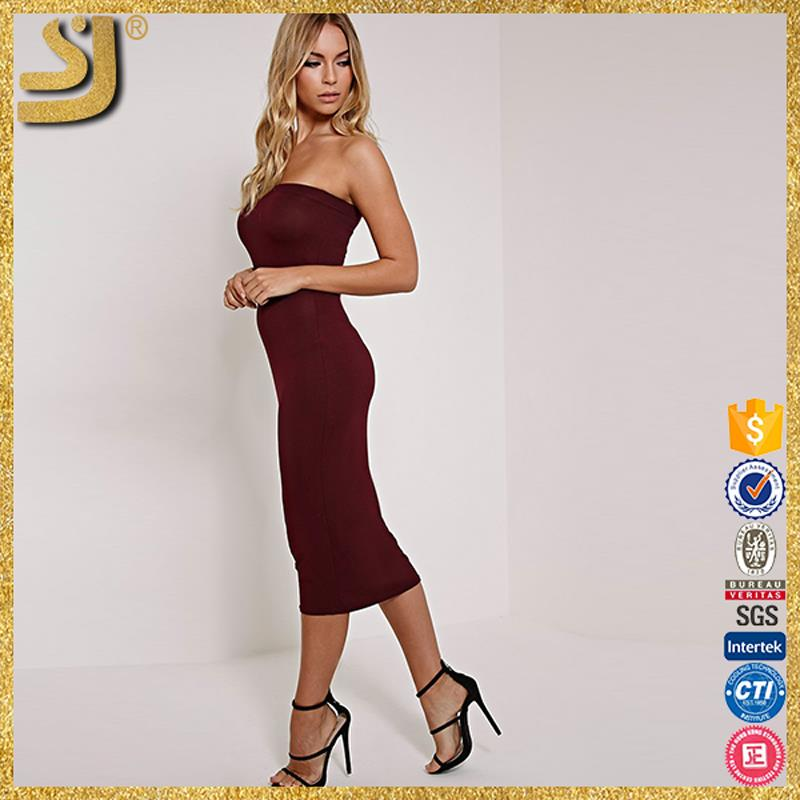 SHANGYI red cap sleeve bandage dress, hot sale in stock bodycon midi dress, midi dress for fat women