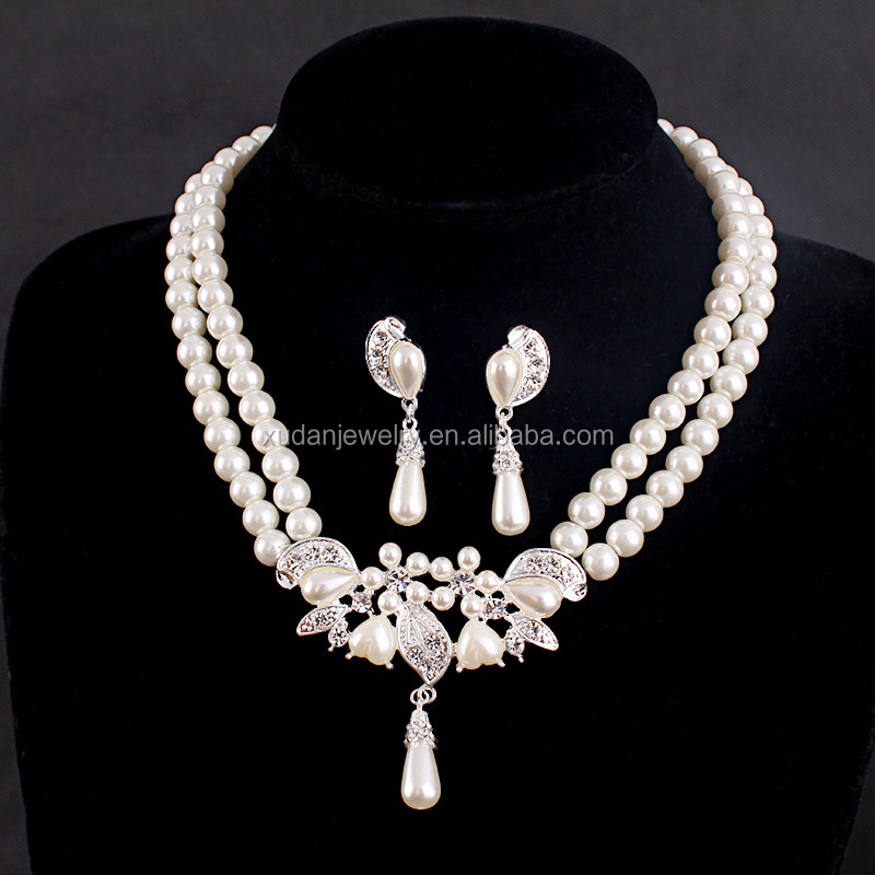 2017 Simulated Pearl Jewelry Sets for Women Lady Girl Bridal Jewellery Sets Wedding Australia Crystal Pendant Necklace Earring