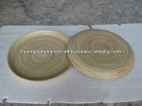 cheap round coiled serving bamboo platter