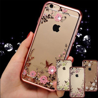 Hot sale luxury crystal diamond bling eletroplate soft tpu transparent real flower resin phone case for Apple iPhones 6 6S Plus