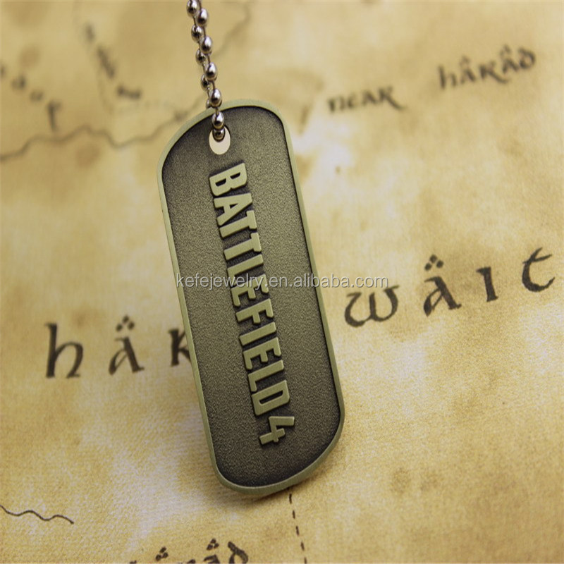 New & Hot Game Jewelry BF4 Battlefield 4 Pewter/Gold Military Dog Tag Double side Pendant Necklace for men