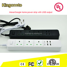 Kingoneto 2017 new sale Smart home hot sale Echo dot/Google home voice/APP control smart power strip with USB socket