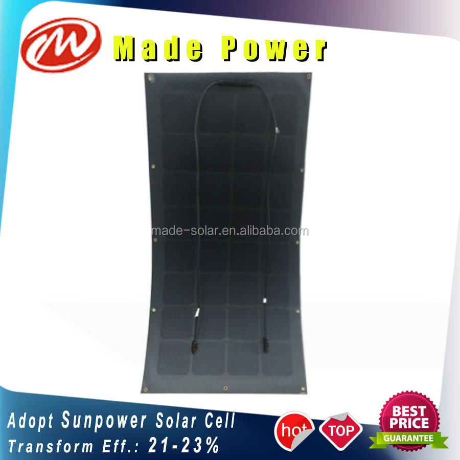 100Wp semi flexible Sunpower solar panel high efficiency import from manufacturer