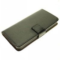 WYIPH-ABB011 Black Genuine Leather Magnetic Wallet Stand Cover Case for Apple iPhone 5 Leather Case